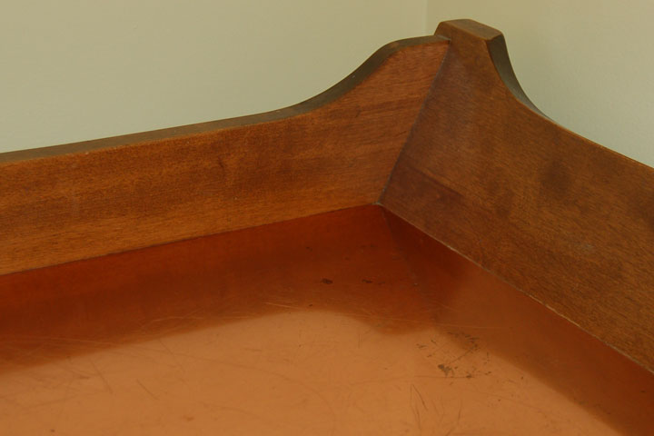 copper top in a dry sink